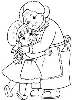 little girl and her grandmother. Coloring page for kids (illustration of Little Red Riding Hood). Art Drawings For Kids, Art Drawings Sketches, Cute Drawings, Cute Coloring Pages, Coloring Sheets, Adult Coloring, Red Riding Hood Party, Vintage Coloring Books, Copics