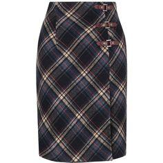 L.K. Bennett Rhea Wool Blanket Check Skirt ($235) ❤ liked on Polyvore