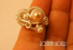Pearls wirework ring