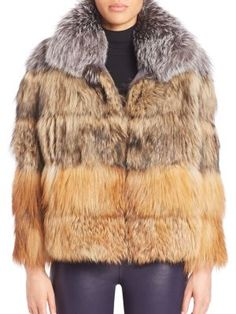 ELIZABETH AND JAMES Vienna Fox Fur Jacket. #elizabethandjames #cloth #jacket