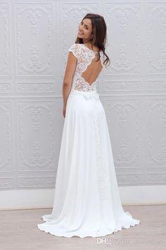Einfache A Line Brautkleider 2016 Sheer SpitzeAppliques Scoop geöffnetes zurück angeschnittene Ärmel bodenlangen Chiffon Braut Brautkleider Günstige