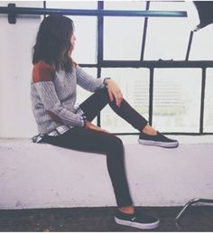 sweater flannel shirt vans black jeans grey sweater elbow patches ingrid nilsen t-shirt oversized sweater new york city