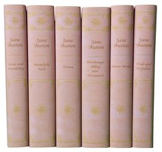 Juniper Books - S/6 Jane Austen Books-- The concept for this set was to make a beautiful edition of Jane Austen's complete works in paper book jackets that look like luxurious pink leather bindings. The titles, published by Oxford University Press, are Emma, Sense and Sensibility, Pride and Prejudice, Mansfield Park, Northanger Abbey and Persuasion, and Austen's Minor Works.