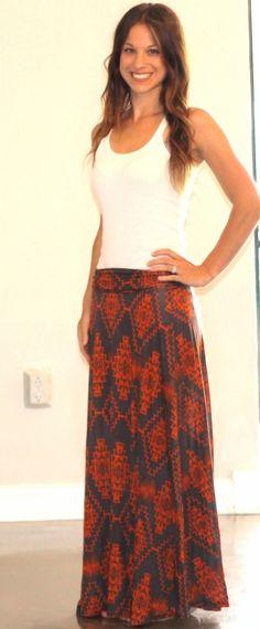Tribal Printed Maxi Skirt! <3