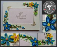 """More ideas for quilled photo frames.  Enhance your exquisite quilling with boarder/corner stickers...  available in India by Oak Arts .  (Oak Arts photoframe is a part of OakArts quilling kit """"Fun with Quilling"""")"""