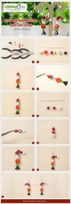 How to Make Beaded Christmas Santa Claus Earrings by wanting