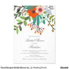 Floral Bouquet Bridal Shower Invitation.  So pretty for a summer bridal shower.