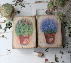 """Купить """"Пряные травы"""" коробочки для трав - бежевый, прованс, прованские травы, прованский стиль, лаванда"""