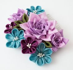 Rose Flowers Tsumami Kanzashi Silk Purple por HanamiGallery en Etsy