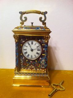 D444. A very attractive champlevé enamel carriage clock (France)