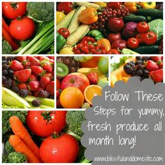 How to shop for produce once a month and make it last without going bad.  These tips will save you a lot of money.  This gal's blog is awesome! She definitely earned a bookmark from me!