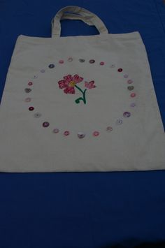 Tote Bag Pink Flower and Buttons by Eileen's Craft Studio
