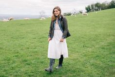 8.16 glastonbury tor (Ralph Lauren quilted jacket + Madewell denim jacket in pinter wash + Rebecca Taylor sleeveless pintucked lace-trim midi dress + Hunter boots + Chloe 'marcie' crossbody bag in tan)