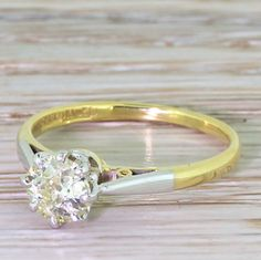 Art Deco 0.60 Carat Fancy Light Yellow Old Cut Diamond Engagement Ring, circa 1920 by GatsbyJewels on Etsy