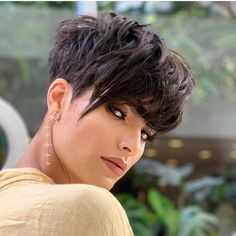 Looking for a gorgeous black pixie haircut? Girls of any age can rock this hairdo, just make sure that you customize it and adjust it per your face sh... Stylish Short Haircuts, Short Pixie Haircuts, Pixie Hairstyles, Haircut For Thick Hair, Short Curly Hair, Curly Hair Styles, Short Hair Cuts For Women, Short Hairstyles For Women, Pixie Haircut Styles
