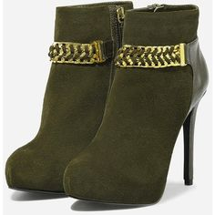 CHARLES & KEITH Chain Detail Suede Ankle Boots (160 CAD) ❤ liked on Polyvore featuring shoes, boots, ankle booties, heels, ankle boots, olive, short boots, heeled ankle boots, platform heel boots and platform booties