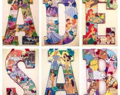 Excited to share this item from my shop: Any six custom letters in Disney style - wooden letter wall art Disney Diy, Disney Crafts, Decoupage Letters, Painted Letters, Wood Letters, Decorated Wooden Letters, Decorative Letters For Wall, Large Letters, Colour Paper Flowers