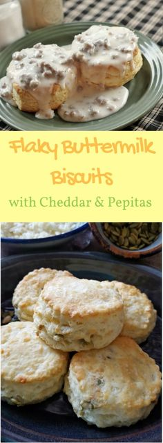 Flaky Buttermilk Biscuits with Cheddar and Pepitas!  They are a family favourite and turn out perfect every single time thanks to a special folding technique and ice cold ingredients!