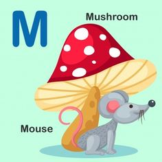 Isolated animal alphabet letter m-mouse mushroom vector image on VectorStock Flashcards For Toddlers, Alfabeto Animal, Realistic Sketch, Apple Vector, School Cartoon, Animal Alphabet, Alphabet Letters, Learning The Alphabet, Kids Reading