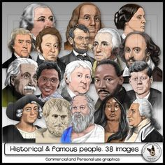Realistic hand-drawn clip art of Presidents, Scientists, Artists, Explorers and Civil Rights Leaders