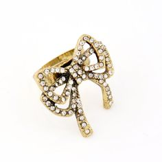 Rhinestone Bow Antique Gold Adjustable Cocktail Ring wholesale