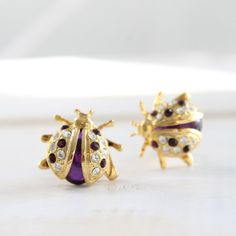 Ladybug Plugs Upcycled Vintage Gauges Gold Tone Clear and Purple Rhinestones for Stretched Ears Bug Insect Bee Costume Jewelry 0 or 00 Size on Etsy, $40.00