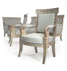 A suite of Empire parcel-gilt, painted and carved seat furniture circa 1815 Estimation — USD Lot. Vendu USD (Prix d'adjudication avec commission acheteur) Georgian Furniture, French Furniture, Classic Furniture, Sofa Furniture, Modern Furniture, Georgian Interiors, Antique Chairs, Living Room Remodel, Empire Style