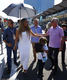 Doing the rounds: Mariah Carey and her son Moroccan were spotted at the Azerbaijan Grand Prix, held at the Baku City Circuit on Sunday
