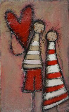 """Olivia Botha """"In love"""" Kunstjournal Inspiration, Art Journal Inspiration, Painting Inspiration, Heart Painting, Naive Art, Angel Art, People Art, Heart Art, Whimsical Art"""
