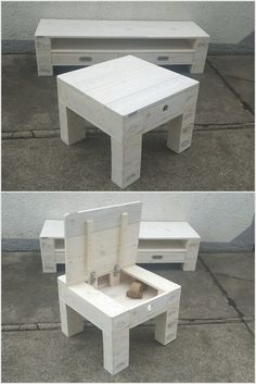 This is a simple designed media table as from the wood pallet material. This media table is also accompanied with the purpose of the chair for the sitting purposes. Moreover, another basic advantage of the wood pallet table is that it is all often comprised with the storage area for you.
