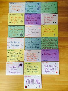 You may have seen our list of 101 Open When Letter Topics. If you have, you already know that open when letters are super popular. There probably isn't a limit on how many open when letters a person… Open When Letters Topics, Inside Open When Letters, Letter To Best Friend, Open When Letters For Best Friend Ideas, Cute Things To Do For Your Boyfriend, Birthday Present Ideas For Best Friend, Letters For Friends, Bestfriend Birthday Ideas, Best Friend Presents