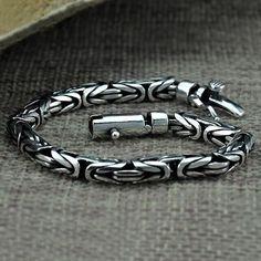 Men's Sterling Silver Byzantine Chain Bracelet #men'sjewelry