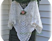 No pattern. Just pretty to look at. :)    Layers of Vintage Crochet Lace Shawl Poncho Sweet Delicate.  Etsy.