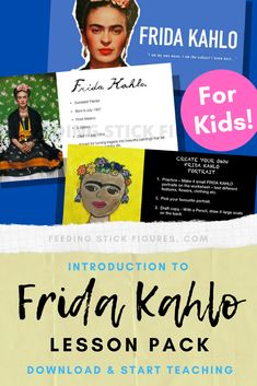 GREAT way to begin Friday Kahlo art projects for my young art students. This is great because it comes with a clear and informative presentation and fun worksheets they can do after and before they get started making Frida inspired artwork! Self Portrait Kids, Portraits For Kids, Portrait Art, Art Lessons For Kids, Art Activities For Kids, Art For Kids, Cool Art Projects, Projects For Kids, Project Ideas