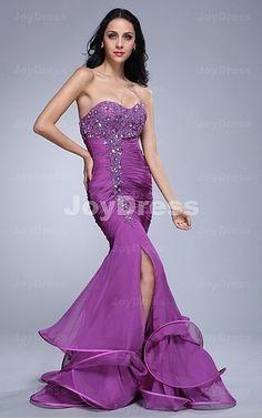 purple dresses for prom -Petunia Mermaid Sweetheart Floor-length Dress