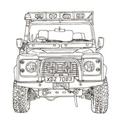 A collection of ink and watercolour line drawings of Land Rover Vehicles. Defender 90, Land Rover Defender 110, Best 4x4, Lifted Ford Trucks, Ford Raptor, Car Sketch, Toyota Land Cruiser, Line Drawing, Concept Cars