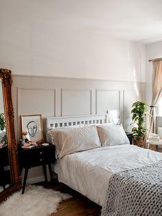 Living Room Panelling, Wall Panelling, Room Ideas Bedroom, Bedroom Decor, Bedroom Wall Designs, Accent Wall Bedroom, Bedroom Wall Panels, Diy Wall Panel, Wood Bedroom Wall