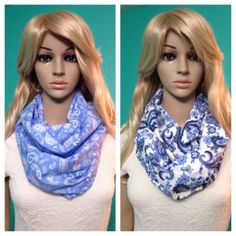 Your choice of two paisley infinity scarves one in light blue with white paisley and one in white with multicolored blue paisley, by Beckysscarfshop, $15.00 Paisley Scarves, Infinity, Light Blue, Trending Outfits, Vintage, Etsy, Fashion, Moda, Infinite
