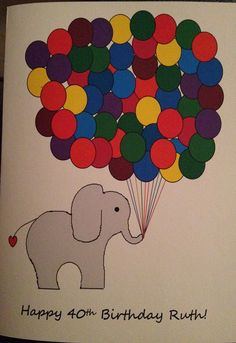 Hand illustrated multi coloured balloon & elephant card.    Inside of card is blank for your message or can be personalised. Illustration is