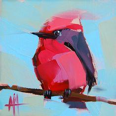 #AngelaMoulton   #Vermillion Flycatcher. #bird #painting