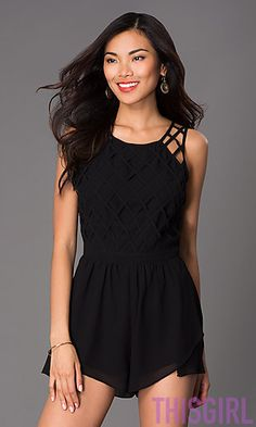 SHORT BLACK SLEEVELESS ROMPER BY WOW COUTURE