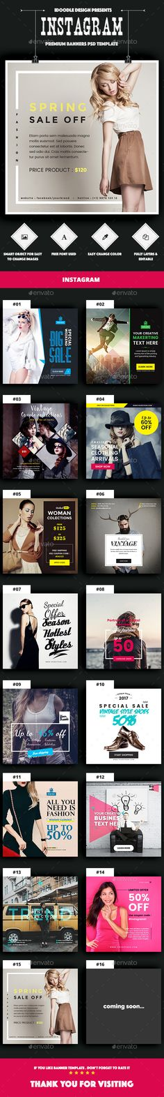 15 Instagram Banners Template - Download Here : http://graphicriver.net/item/promotion-instagram-banners-ad-15-psd/15595749?ref=yinkira