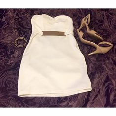✨Charlotte Russe White Formal Dress Worn twice. Small mark of tarnish on gold belt. Otherwise in EUC. Charlotte Russe Dresses Mini