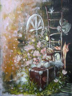 Купить Снова ручная кладь:) - разноцветный, картина, интерьер, подарок, мишка, чемодан, фонарь, лестница
