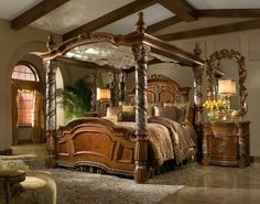 Bedroom. victorian style brown glaze wooden canopy bed with carved poles using brown bedding set under brown log wood ceiling. Impressing King Size Canopy Bed Frame Design