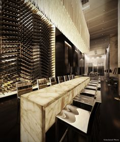 Ivy Ampio Restaurant Interior. This would be really cool to have in the dining room. In love with the wine rack wall!