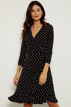 Pink Polka Dots, Leather Loafers, Wrap Style, Cool Outfits, Wrap Dress, Model, How To Wear, Heels, Black