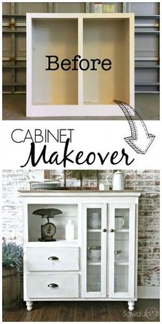 DIY Furniture : Here is an amazing cabinet Makeover with step-by-step pictures by sawdust 2 stitches