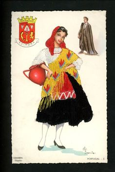 Coimbra, Portugal, a tricana : a typical represented on her way to get water with her jar