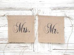 Mr and Mrs burlap chair banners Small by MirtilloShop on Etsy Burlap Chair, Burlap Bunting, Wedding Hire, Diy Wedding, Wedding Ideas, Small Garden Wedding, Long Engagement, My Heart Is Breaking, Vases Decor